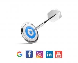 cible et icones des réseaux sociaux
